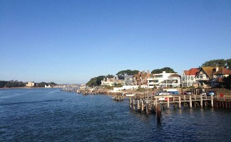 Many properties have their own jetties in Sandbanks
